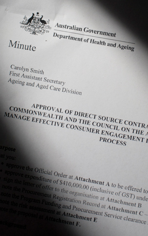 Copy of the $410,000 contract between COTA and the Department of Health and Ageing. Photo by TGM